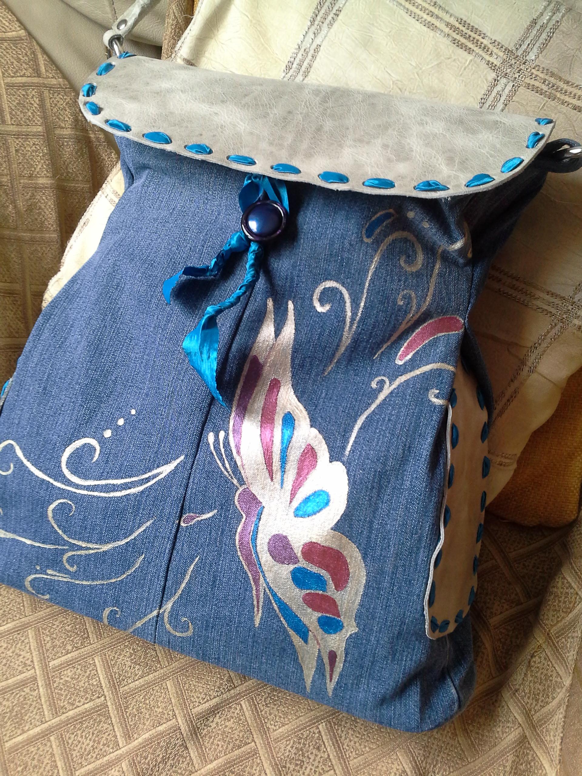Borse Fatte A Mano Con I Jeans : Borsa jeans e pelle fatta decorata a mano